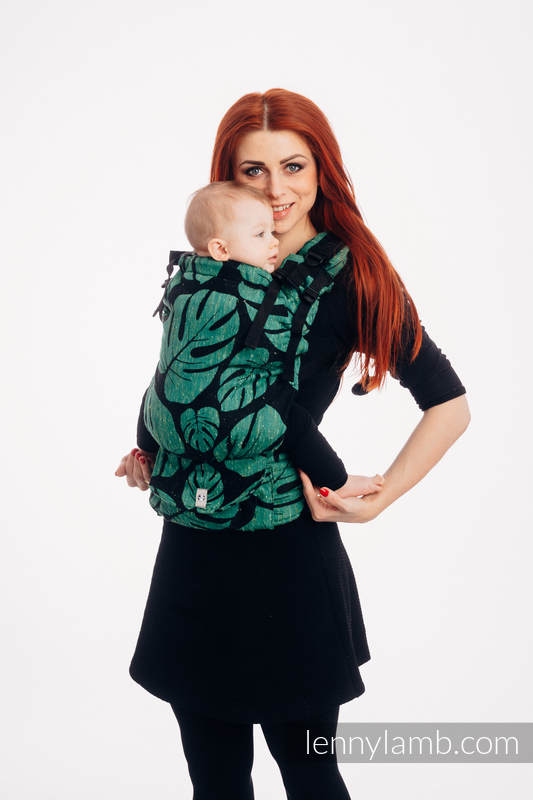 LennyUp  Carrier, Standard Size, jacquard weave, 78% cotton 22% silk - MONSTERA - URBAN JUNGLE #babywearing