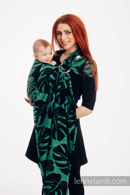RingSling, Jacquardwebung (78% Baumwolle, 22% Seide) - MONSTERA - URBAN JUNGLE - long 2.1m #babywearing