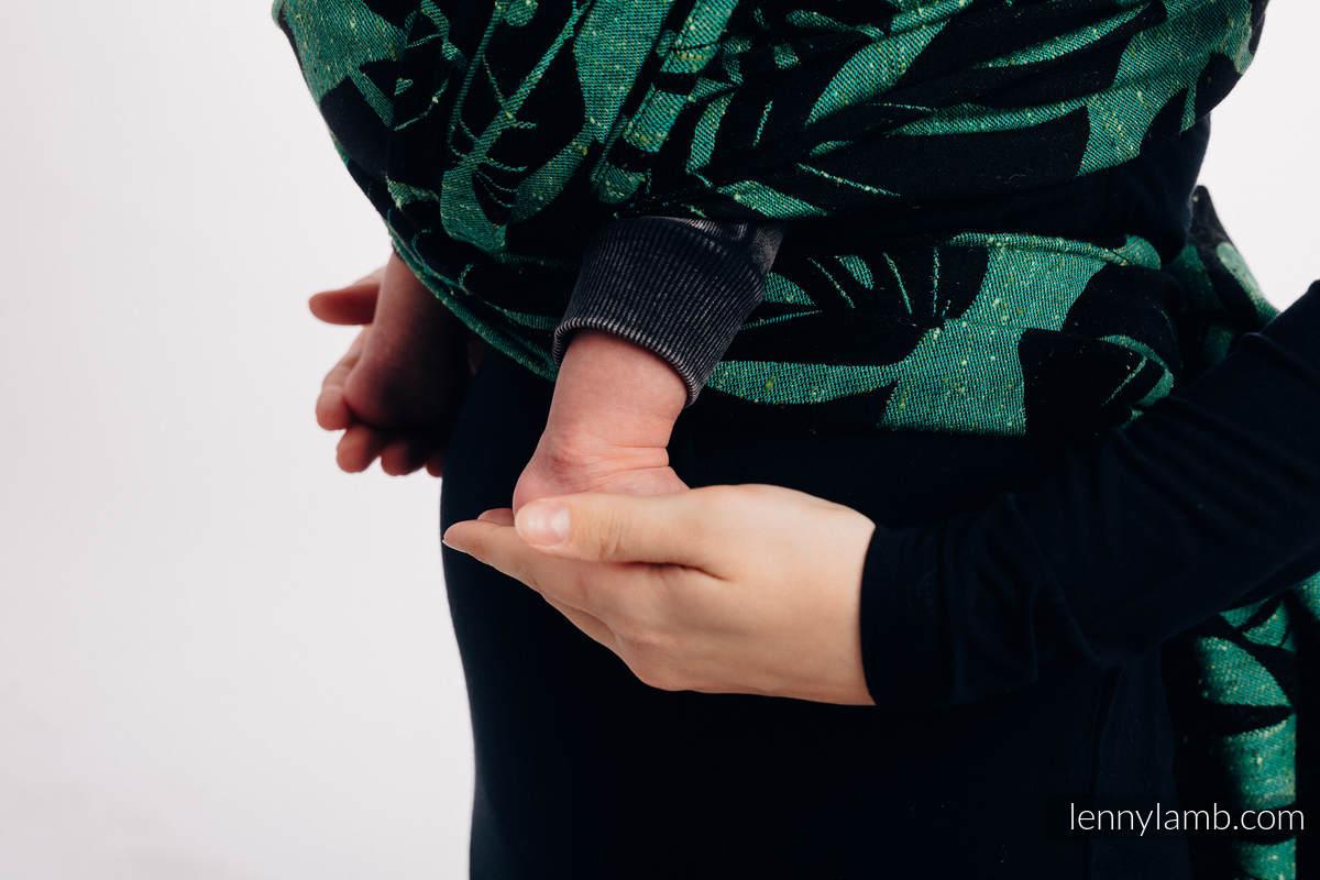 Écharpe, jacquard (78% Coton, 22% Soie) - MONSTERA - URBAN JUNGLE - taille S #babywearing