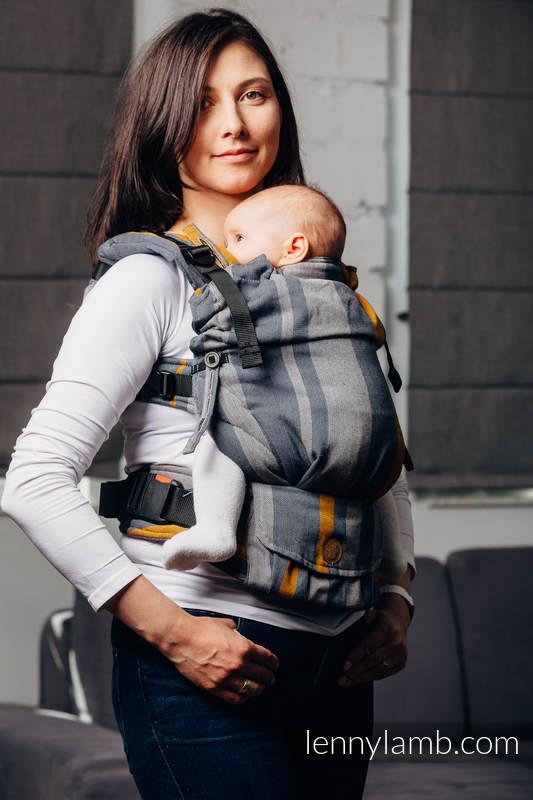Mochila LennyUpGrade, talla estándar, sarga cruzada 100% algodón - SMOKY - HONEY #babywearing