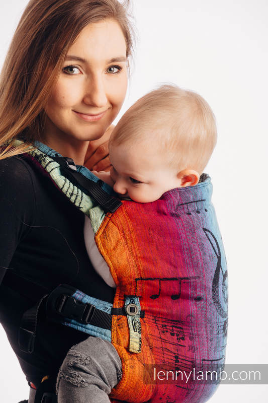 LennyUpGrade Carrier, Standard Size, jacquard weave 100% cotton - SYMPHONY RAINBOW DARK #babywearing