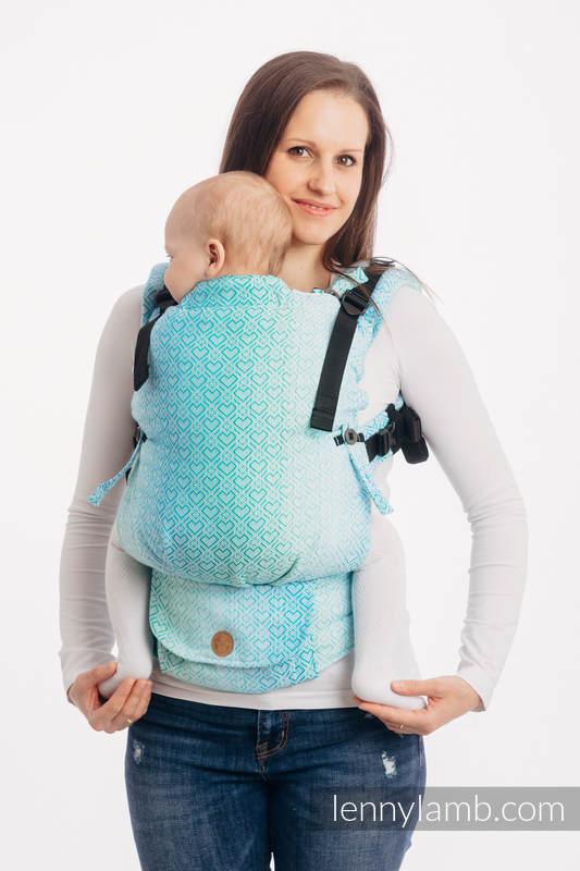 LennyUpGrade Carrier, Standard Size, jacquard weave 100% cotton - BIG LOVE - ICE MINT  #babywearing