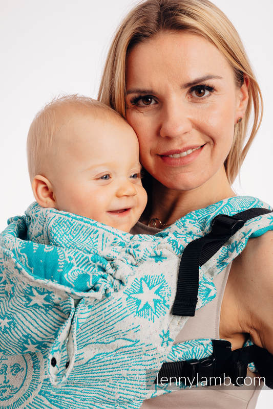 LennyGo Ergonomic Carrier, Baby Size, jacquard weave 64% cotton, 36% silk - HORIZON'S VERGE - ATLANTIS #babywearing