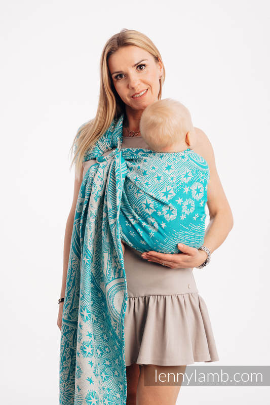 Ringsling, Jacquard Weave, with gathered shoulder 64% cotton, 36% silk - HORIZON'S VERGE - ATLANTIS - standard 1.8m #babywearing
