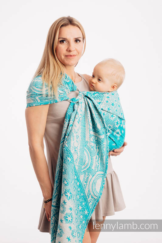 Ringsling, Jacquard Weave, 64% cotton, 36% silk - HORIZON'S VERGE - ATLANTIS - long 2.1m #babywearing
