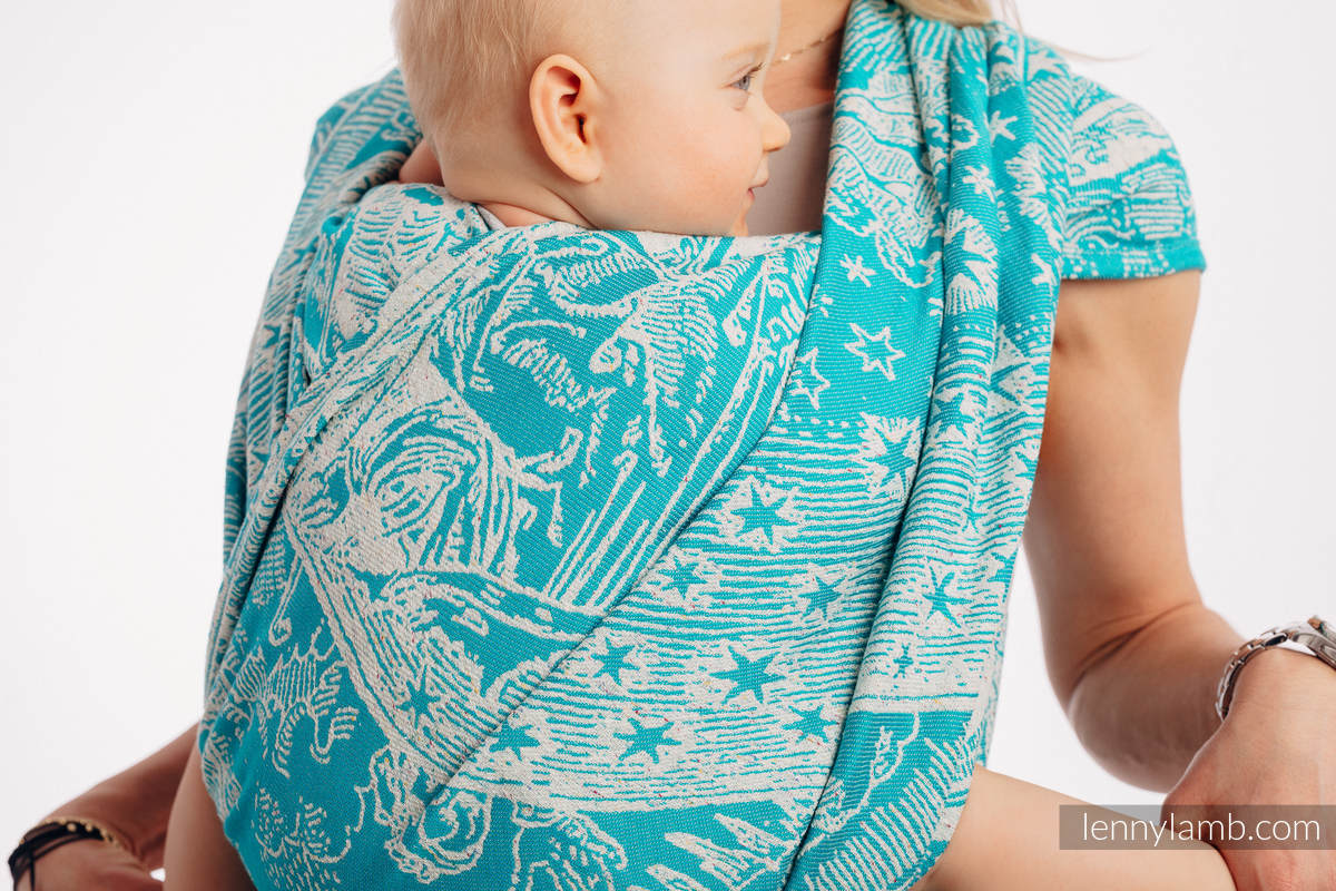 Baby Wrap, Jacquard Weave 64% cotton, 36% silk - HORIZON'S VERGE - ATLANTIS - size M #babywearing