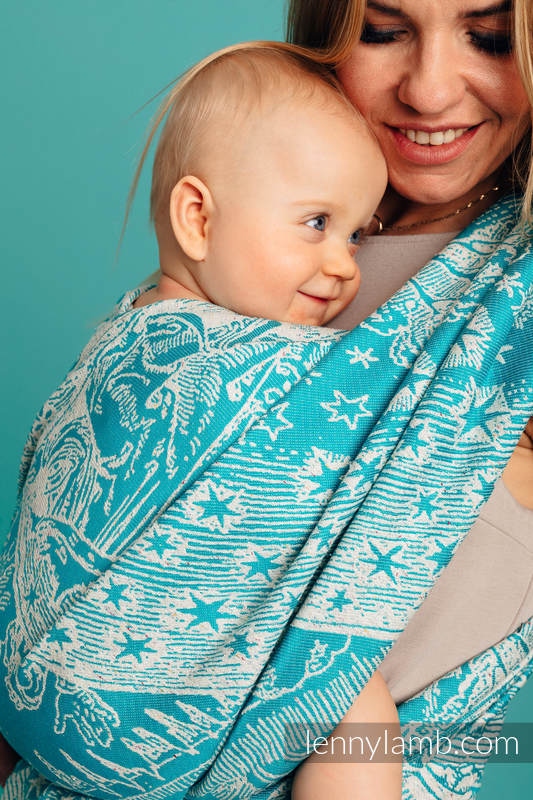 Baby Wrap, Jacquard Weave 64% cotton, 36% silk - HORIZON'S VERGE - ATLANTIS - size XS #babywearing