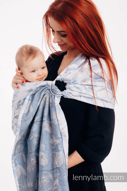 Ringsling, Jacquard Weave (100% cotton) - with gathered shoulder - MAGNOLIA BLUE OPAL - long 2.1m #babywearing