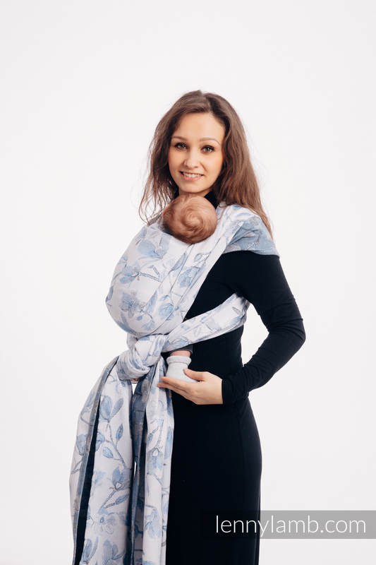 Baby Wrap, Jacquard Weave (100% cotton) - MAGNOLIA BLUE OPAL - size S #babywearing
