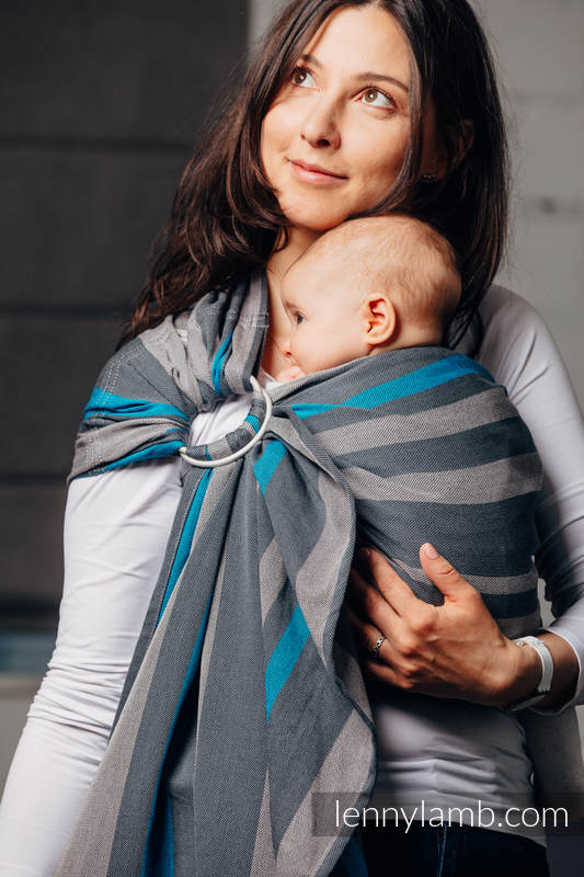 Ringsling, Broken twill Weave (100% cotton), with gathered shoulder - SMOKY - IRIS - standard 1.8m #babywearing