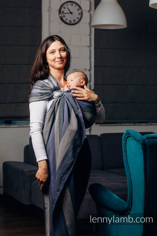 Ringsling, Broken twill Weave (100% cotton), with gathered shoulder - SMOKY - LILAC - standard 1.8m (grade B) #babywearing