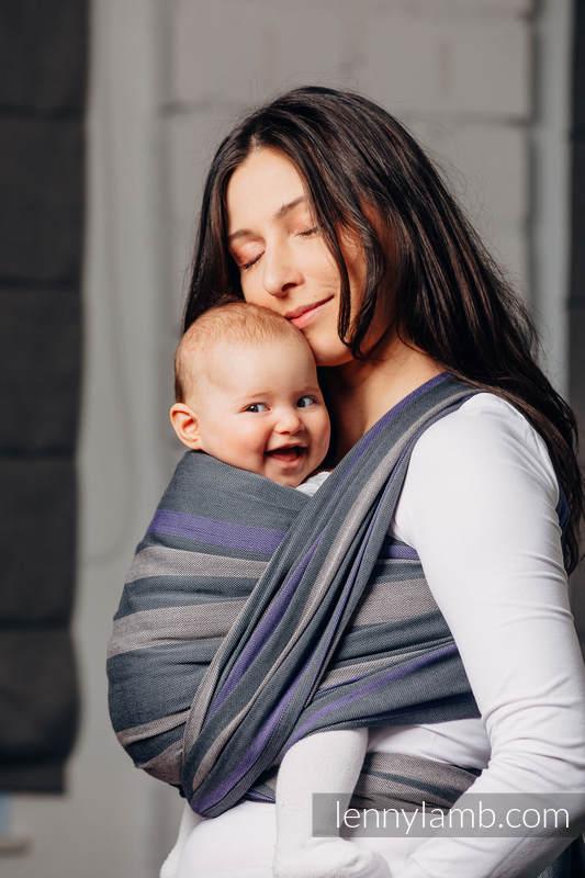 Chusta do noszenia dzieci, tkana splotem skośno-krzyżowym (100% bawełna) - SMOKY - BEZ - rozmiar XS #babywearing