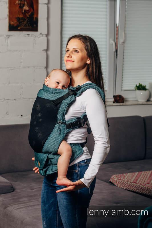 Mochila portabebé LennyUpGrade de malla, talla estándar, tejido Herringbone, (75% algodón, 25% poliéster) - BASIC LINE AMAZONITE #babywearing