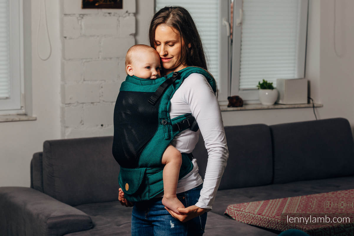 LennyUpGrade Mesh-Tragehilfe, Größe Standard, Fischgrätmuster, 75% Baumwolle, 25% Poliester  - BASIC LINE EMERALD #babywearing