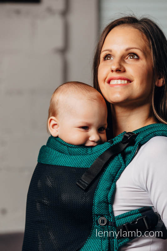 Mochila portabebé LennyUpGrade de malla, talla estándar, tejido Herringbone, (75% algodón, 25% poliéster) - BASIC LINE EMERALD #babywearing