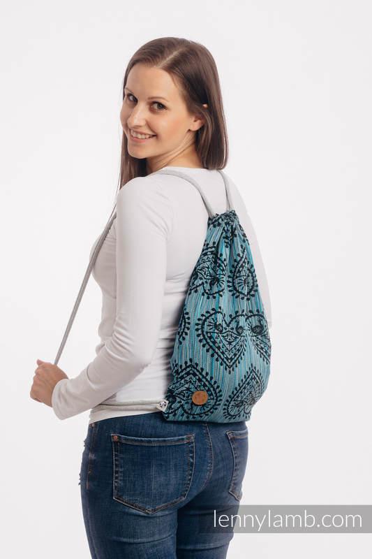 Sackpack made of wrap fabric (100% cotton) - FOLK HEARTS - MIDSUMMER NIGHT - standard size 32cmx43cm #babywearing