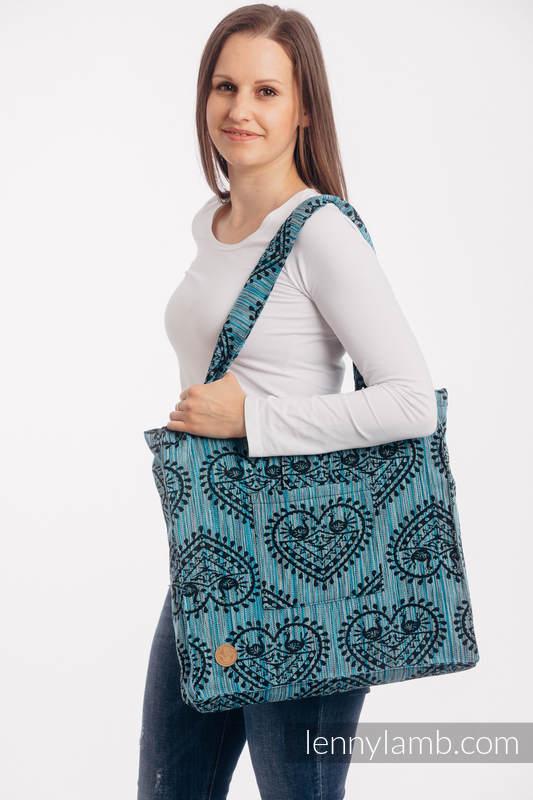 Bolso hecho de tejido de fular (100% algodón) - FOLK HEARTS - MIDSUMMER NIGHT - talla estándar 37 cm x 37 cm #babywearing