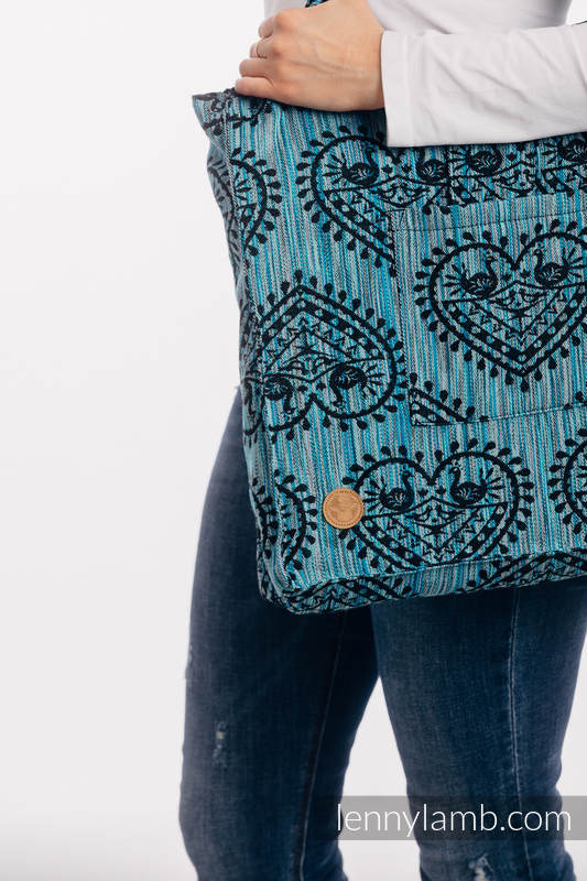 Torba na ramię z materiału chustowego, (100% bawełna)  - FOLKOWE SERCA - NOC ŚWIĘTOJAŃSKA - rozmiar uniwersalny 37cm x 37cm #babywearing