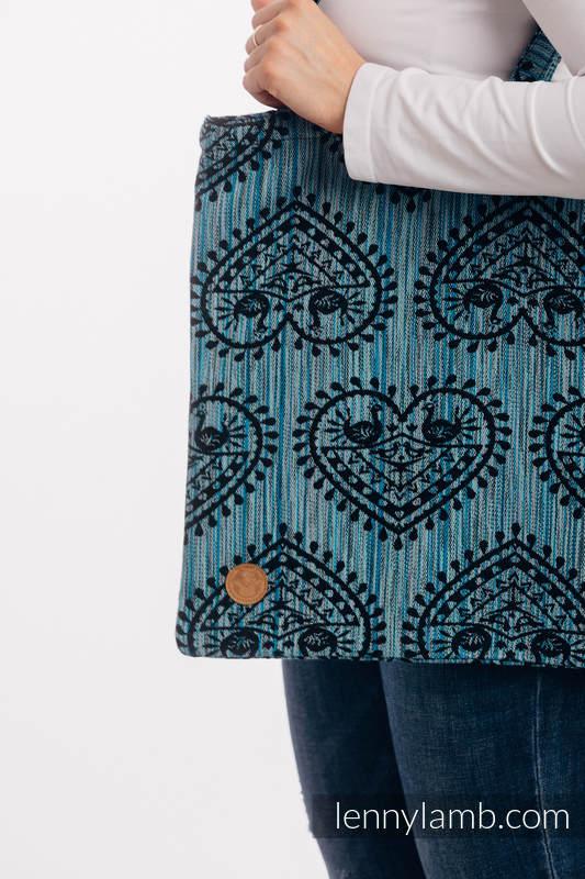 Torba na zakupy z materiału chustowego, (100% bawełna) - FOLKOWE SERCA - NOC ŚWIĘTOJAŃSKA #babywearing
