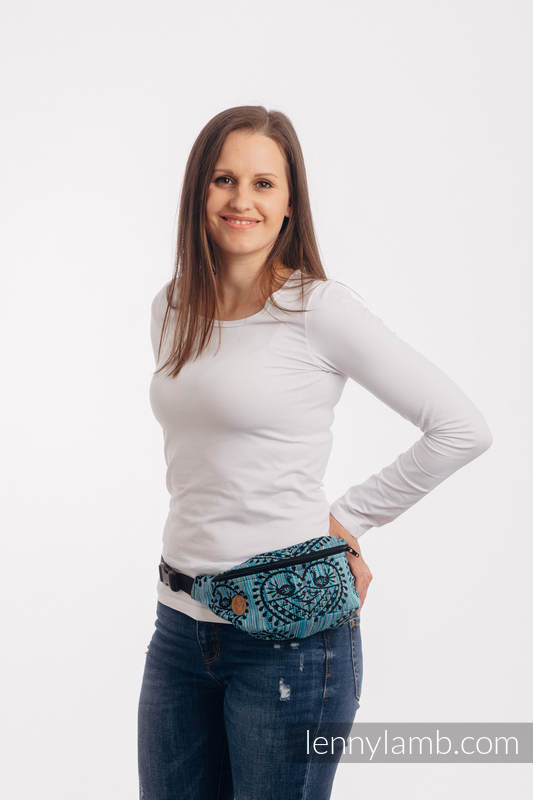 Waist Bag made of woven fabric, (100% cotton) - FOLK HEARTS - MIDSUMMER NIGHT #babywearing
