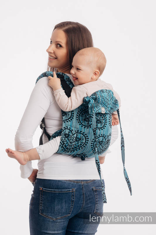 Lenny Buckle Onbuhimo baby carrier, standard size, jacquard weave (100% cotton) - FOLK HEARTS - MIDSUMMER NIGHT #babywearing