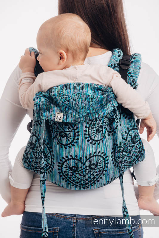 Onbuhimo de Lenny, taille standard, jacquard (100% coton) - FOLK HEARTS - MIDSUMMER NIGHT #babywearing