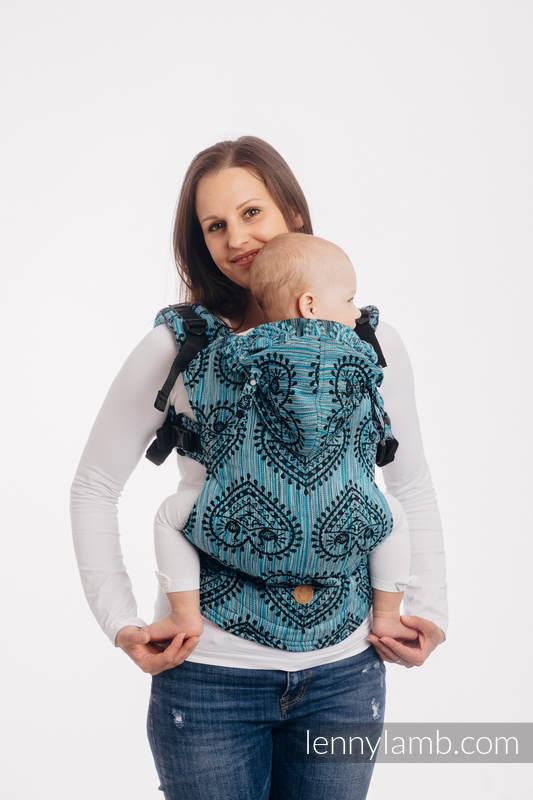 LennyGo Mochila ergonómica, talla bebé, jacquard 100% algodón - FOLK HEARTS - MIDSUMMER NIGHT #babywearing