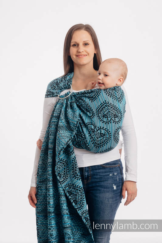 Sling, jacquard (100% coton) -  FOLK HEARTS - MIDSUMMER NIGHT - long 2.1m #babywearing