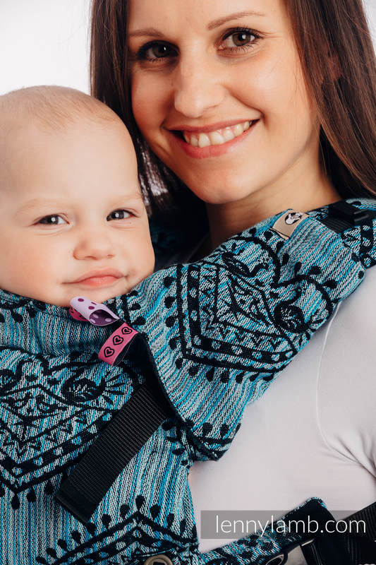 Nosidełko LennyUpGrade  z tkaniny żakardowej 100% bawełna , rozmiar standard - FOLKOWE SERCA - NOC ŚWIĘTOJAŃSKA #babywearing