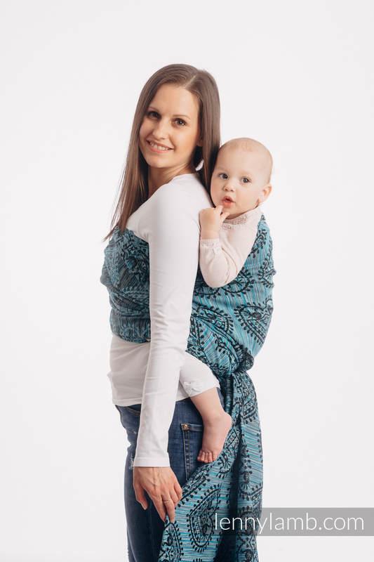 Tragetuch, Jacquardwebung (100% Baumwolle) - FOLK HEARTS - MIDSUMMER NIGHT - Größe XS #babywearing