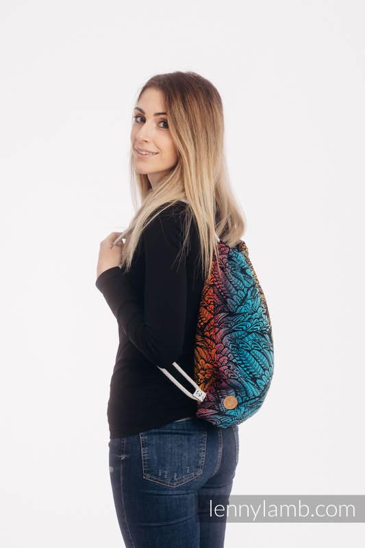 Mochila portaobjetos hecha de tejido de fular (100% algodón) - WILD SOUL - DAEDALUS  - talla estándar 32cmx43cm #babywearing