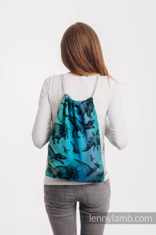 Sackpack made of wrap fabric (100% cotton) - JURASSIC PARK - standard size 32cmx43cm #babywearing