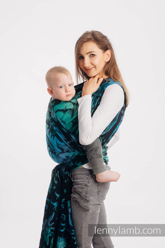 Baby Wrap, Jacquard Weave (100% cotton) - JURASSIC PARK - size S #babywearing