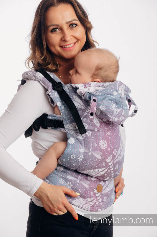 LennyGo Ergonomic Carrier, Baby Size, jacquard weave 60% cotton 40% linen - DRAGONFLY LAVENDER #babywearing