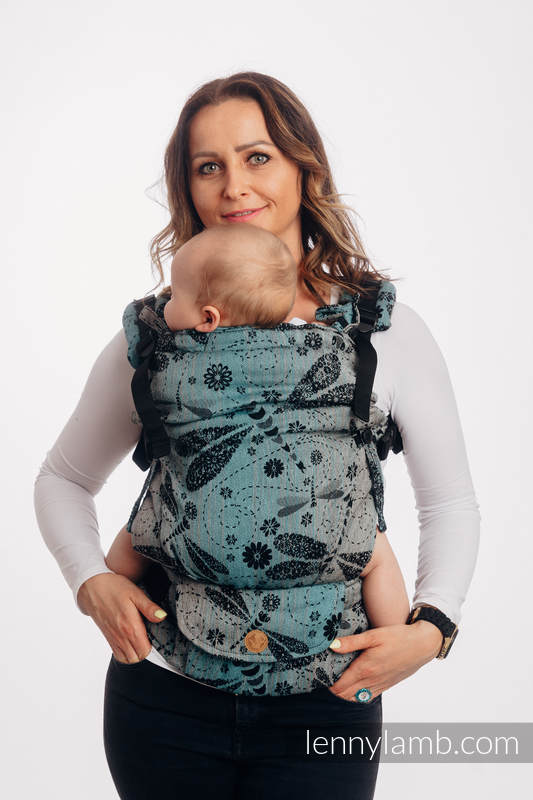 LennyUpGrade Carrier, Standard Size, jacquard weave, 60% cotton, 28% linen 12% tussah silk - DRAGONFLY - TWO ELEMENTS #babywearing