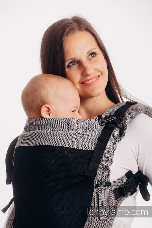 LennyUpGrade Mesh Carrier, Standard Size, herringbone weave (75% cotton, 25% polyester) - LITTLE HERRINGBONE OMBRE GREY #babywearing