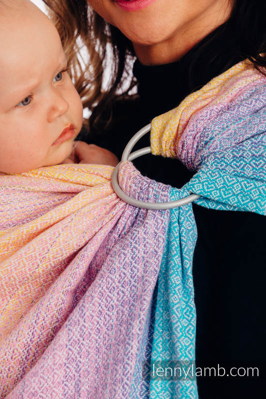 Ringsling, Jacquard Weave (80% cotton, 20% bamboo), with gathered shoulder - LITTLELOVE - CANDYLAND - long 2.1m #babywearing