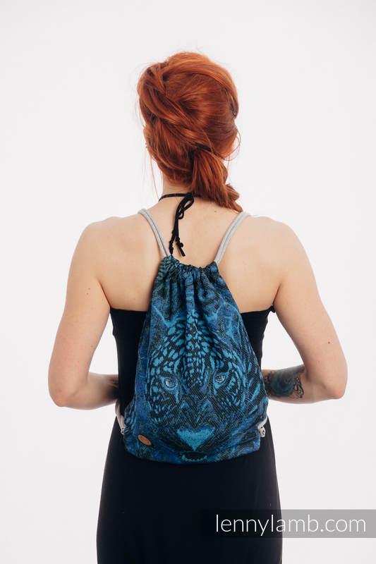 Mochila portaobjetos hecha de tejido de fular (100% algodón) - JAGUAR - talla estándar 32cmx43cm #babywearing