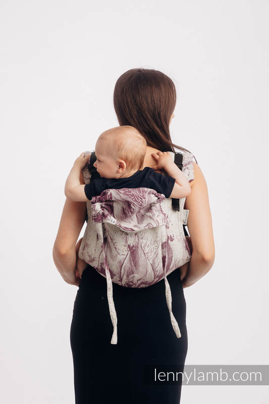 Lenny Buckle Onbuhimo baby carrier, standard size, jacquard weave (78% cotton 22% silk) - GALLOP - RACE #babywearing