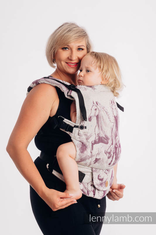 LennyUpGrade Carrier, Standard Size, jacquard weave (78% cotton 22% silk) - GALLOP - RACE #babywearing