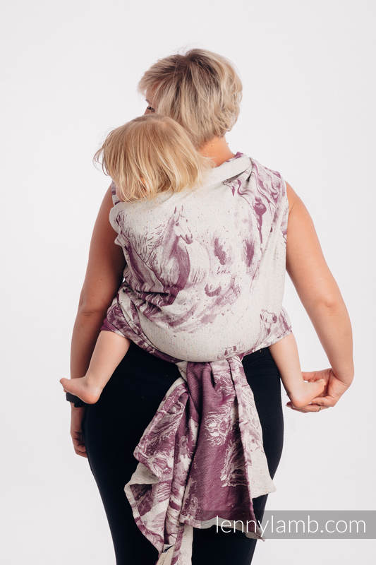 Baby Wrap, Jacquard Weave (78% cotton 22% silk) - GALLOP - RACE - size S #babywearing