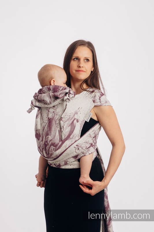 WRAP-TAI Tragehilfe Mini mit Kapuze/ Jacquardwebung / (78% Baumwolle, 22% Seide) - GALLOP - RACE #babywearing