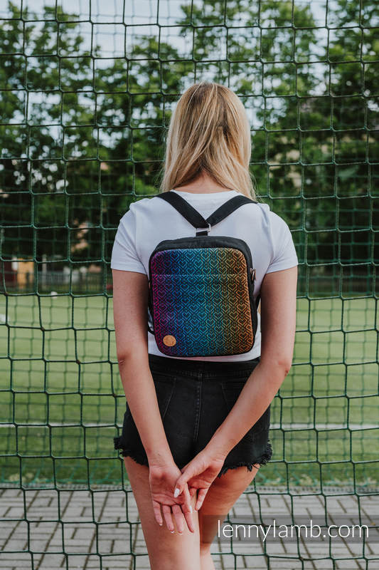 Backpack/Crossbody Bag 2in1  SPORTY, (56% cotton, 44% viscose) - BIG LOVE RAINBOW DARK #babywearing