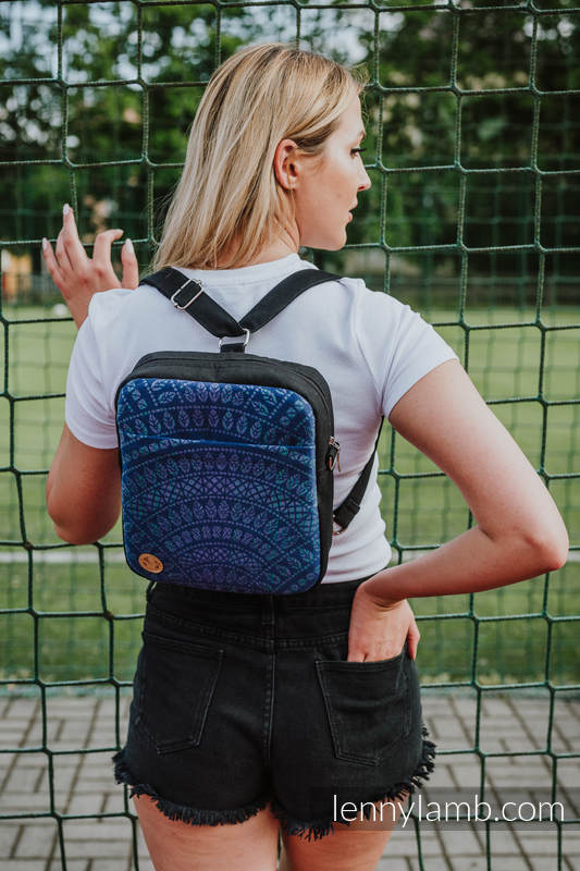 Backpack/Crossbody Bag 2in1  SPORTY, (56% cotton, 44% viscose) - PEACOCK'S TAIL - PROVANCE #babywearing