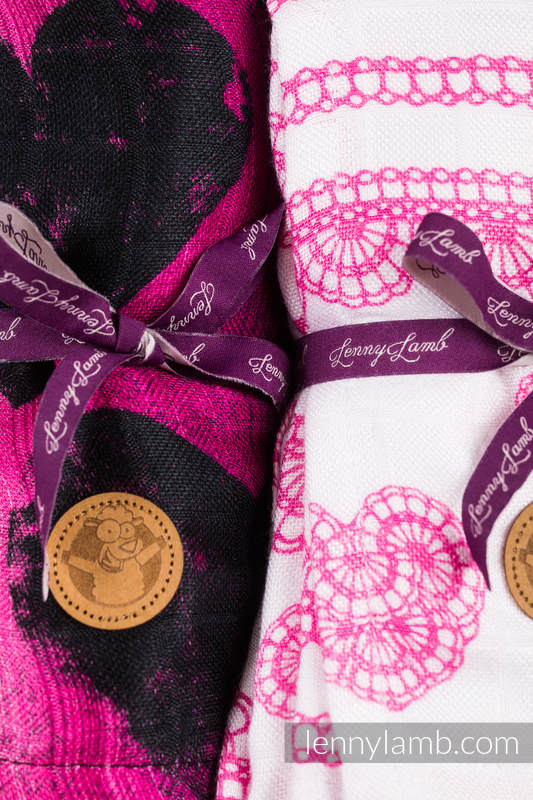 Set de muselinas - LOVKA PINKY VIOLET, ICED LACE PINK&WHITE #babywearing