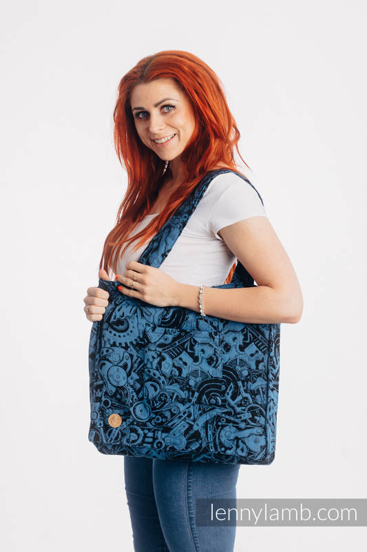 Shoulder bag made of wrap fabric (100% cotton) - CLOCKWORK PERPETUUM - standard size 37cmx37cm #babywearing