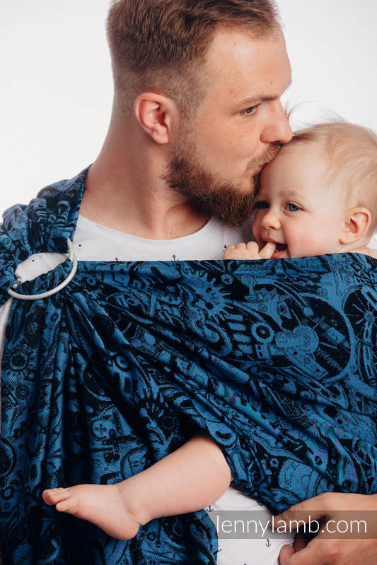 Ringsling, Jacquard Weave (100% cotton), with gathered shoulder - CLOCKWORK PERPETUUM - standard 1.8m #babywearing