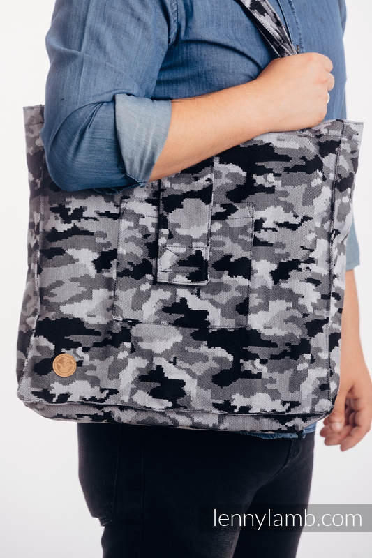 Bolso hecho de tejido de fular (100% algodón) - GRIS CAMO - talla estándar 37 cm x 37 cm #babywearing