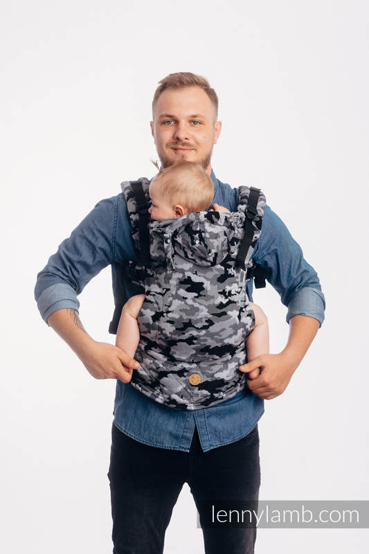 LennyGo Ergonomic Carrier, Baby Size, jacquard weave 100% cotton - GREY CAMO #babywearing