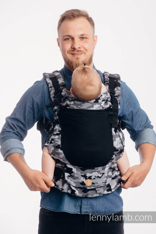 LennyUpGrade Mesh Carrier, Standard Size, jacquard weave 100% cotton - (75% cotton, 25% polyester) -  GREY CAMO #babywearing